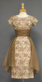 Mocha Lace Cocktail Dress w/ Floating Organdy Overskirt