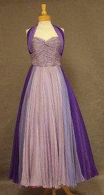 Exquisite Purple Ombre Chiffon Halter Evening Gown