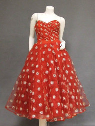 UNBELIEVABLE Ruby Tulle 1950's Cocktail Dress w/ Silver Embroidery