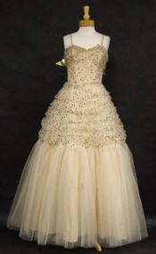 KNOCKOUT Emma Domb Beige Tulle 1950's Ball Gown w/ Gold Polka Dots