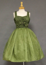 Terrific Olive Jersey & Moss Organdy 1950's Cocktail Dress