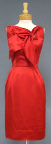 Cherry Red Satin Don Loper 1950's Cocktail Dress