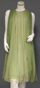 Sarmi Fluttering Green Ombre Dyed Chiffon 1960's Cocktail Dress w/ FABULOUS Back