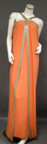 Sarmi Orange Crepe 1960's Halter Gown w/ Beaded Trim