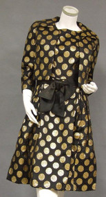 Stylish Sarmi Black 1960's Cocktail Ensemble w/ Gold Coin Dots
