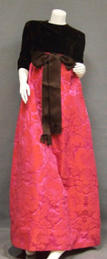 Chocolate Velvet & Cerise Brocade Sarmi Evening Gown