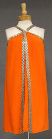 Sarmi Tangerine Crepe 1960's Cocktail Dress w/ Beaded Trim