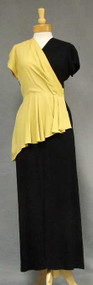 STRIKING Black & Yellow Crepe 1940's Evening Gown