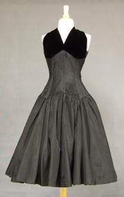 AMAZING Black Taffeta & Velvet 1950's Cocktail Dress w/ Bolero