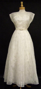 Winter White 1940's Evening Gown w/ Silver Embroidery