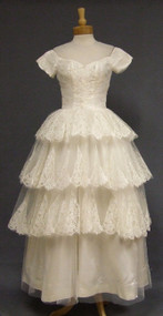 Lovely Satin, Lace & Tulle Wedding Gown w/ Tiered Skirt