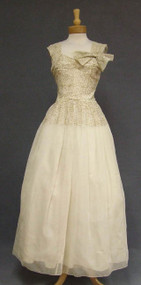 Beautiful Cream Marquisette 1940's Evening Gown w/ Gold Embroidery