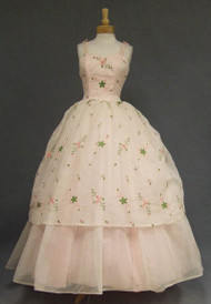 Princess Pink Chiffon 1960's Ball Gown w/ Floral Embroidery
