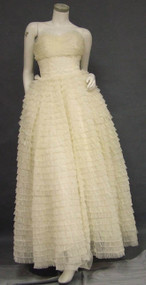 Ivory Chiffon & Lace Strapless Early 1960's Ball Gown