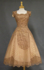 Gorgeous Taupe Lace & Marquisette 1950's Cocktail Dress