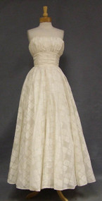 Printed Ivory Cotton Strapless Wedding Gown w/ Gathered Bodice