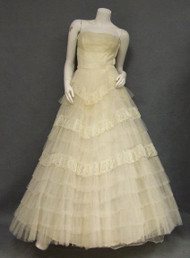 Floating Ivory Lace & Tulle 1950's Wedding Gown w/ Bolero