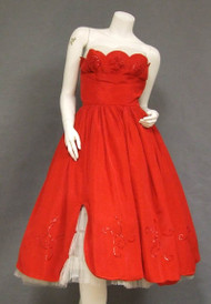 STRIKING Red Taffeta & White Tulle 1950's Prom Dress