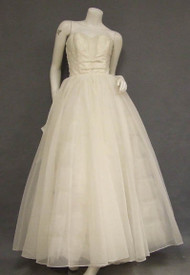Floating Ivory Chiffon Strapless Ball Gown w/ Embroidery