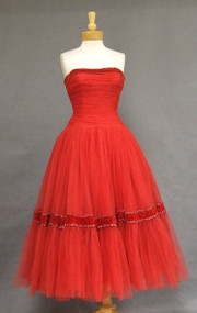 Stunning Ruby Tulle 1950's Prom Dress w/ Velvet Trim