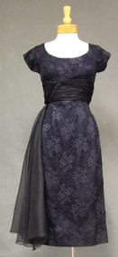 GORGEOUS Navy Lace & Organdy 1950's Cocktail Dress