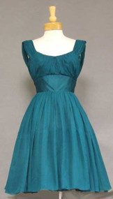 Gorgeous Teal Chiffon & Satin Vintage Cocktail Dress