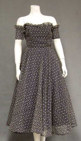 Gorgeous Embroidered Marquisette 1950's Cocktail Dress w/ Detached Sleeves