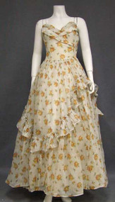Charming Emma Domb Rose Printed Voile 1950's Evening Dress
