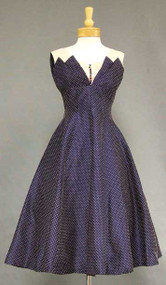 Awesome Navy & Pink Dotted 1950's Cocktail Dress
