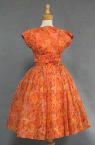 Printed Orange Chiffon 1960's Cocktail Dress in a Great Size