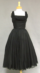 1950's Emma Domb Black Chiffon Goddess Cocktail Dress