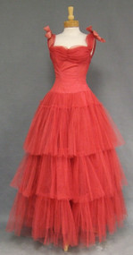 Belle of the Ball Tiered Tulle 1950's Ball Gown w/ Organdy Bows