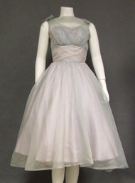Lovely Pale Blue Organdy 1950's Cocktail Dress w/ Sequined Lace Bust