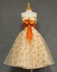 Fred Perlberg Embroidered Tulle 1950's Cocktail Dress