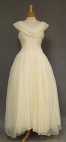 Ivory Chiffon 1960's Evening Gown