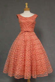 Salmon Lace 1950's Cocktail Dress w/ Satin Cords
