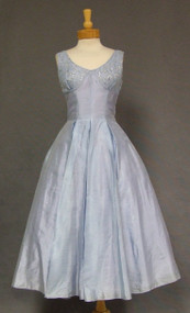 Periwinkle Blue 1950's Cocktail Dress w/ Sequined Lace