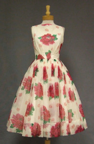 Floating Floral Chiffon 1950's Cocktail Dress