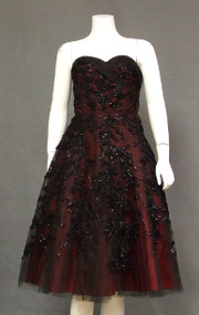 GORGEOUS Ribbon & Sequin Appliqued Black Tulle 1950's Dress w/ Red Lining