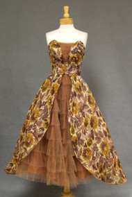 OUTSTANDING Floral Voile 1950's Cocktail Dress w/ Ruffled Tulle