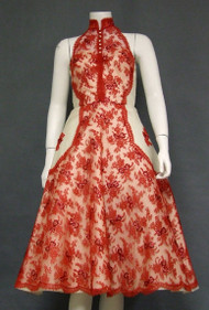 STRIKING Ivory Organdy & Red Lace 1950's Cocktail Dress