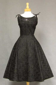 Embroidered Taffeta 1950's Cocktail Dress w/ Tie Shoulders 39