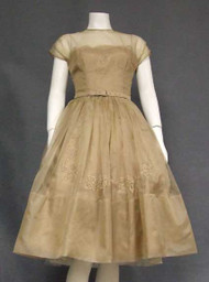 Beautiful Tan Organdy & Lace 1950's Cocktail Dress