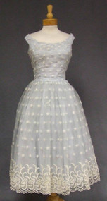 Pale Blue Tulle 1950's Dress w/ Floral Embroidery 39