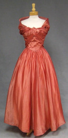 Pink Grapefruit Organdy 1950's Ball Gown w/ Wrap 37