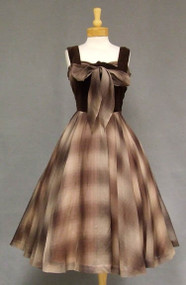 AWESOME Chocolate Velveteen & Plaid Organdy 1950's Cocktail Dress