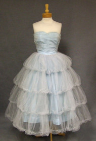 FANTASTIC Blue Tulle 1950's Prom Dress w/ Tiered Balloon Skirt