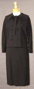Lilli Ann Black Wool Suit w/ Quilted Collar