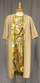 Great 1960's Floral Acetate Dress w/ Matching Swing Jacket