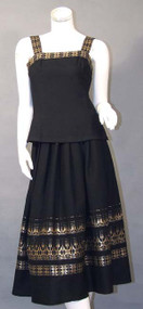 BEAUTIFUL Black Wool Two Piece w/ Gold Trim